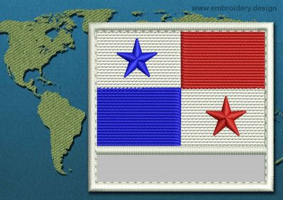 This Flag of Panama Customizable Text  with a Colour Coded border design was digitized and embroidered by www.embroidery.design.