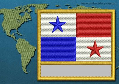 This Flag of Panama Customizable Text  with a Gold border design was digitized and embroidered by www.embroidery.design.