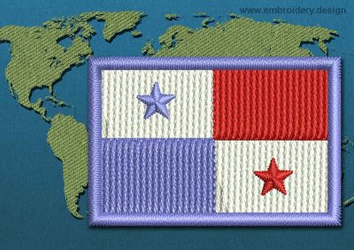 This Flag of Panama Mini with a Colour Coded border design was digitized and embroidered by www.embroidery.design.