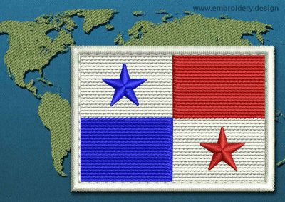 This Flag of Panama Rectangle with a Colour Coded border design was digitized and embroidered by www.embroidery.design.