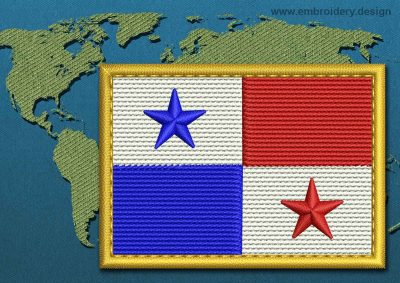 This Flag of Panama Rectangle with a Gold border design was digitized and embroidered by www.embroidery.design.