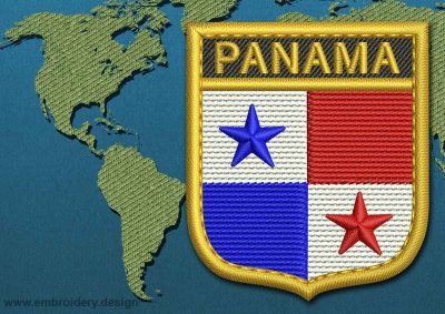 This Flag of Panama Shield with a Gold border design was digitized and embroidered by www.embroidery.design.