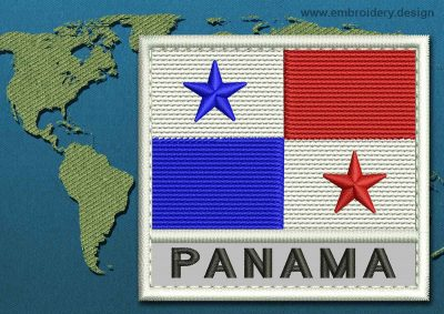 This Flag of Panama Text with a Colour Coded border design was digitized and embroidered by www.embroidery.design.