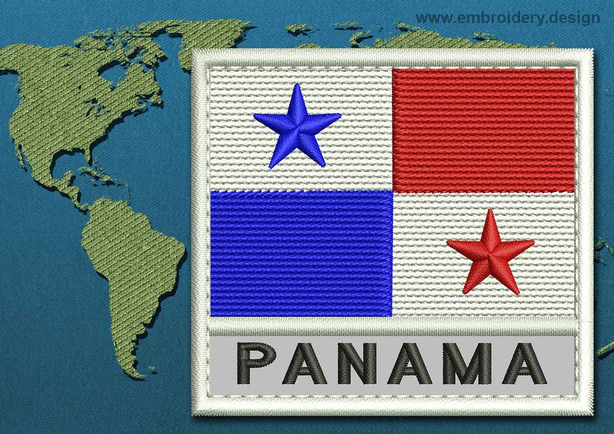 design embroidery flag of panama with text caption and colour trim by embroidery design. Black Bedroom Furniture Sets. Home Design Ideas
