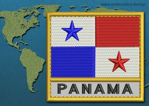 This Flag of Panama Text with a Gold border design was digitized and embroidered by www.embroidery.design.
