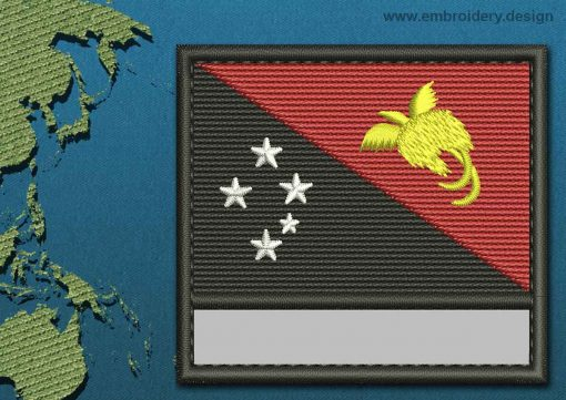 This Flag of Papua New Guinea Customizable Text  with a Colour Coded border design was digitized and embroidered by www.embroidery.design.