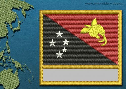 This Flag of Papua New Guinea Customizable Text  with a Gold border design was digitized and embroidered by www.embroidery.design.