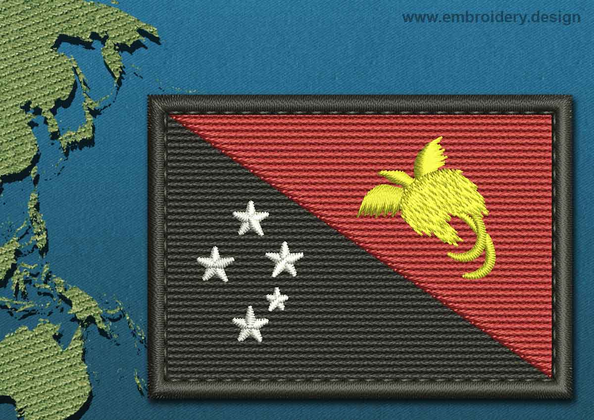 Papua New Guinea Shield Flag Embroidery Design