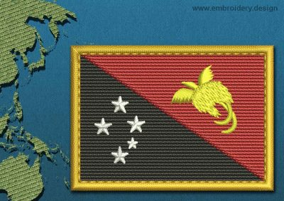 This Flag of Papua New Guinea Rectangle with a Gold border design was digitized and embroidered by www.embroidery.design.