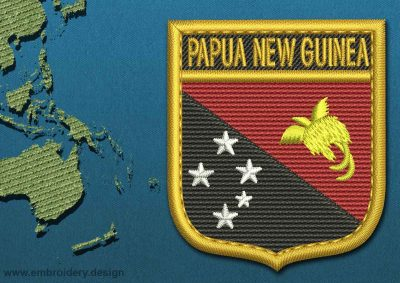 This Flag of Papua New Guinea Shield with a Gold border design was digitized and embroidered by www.embroidery.design.