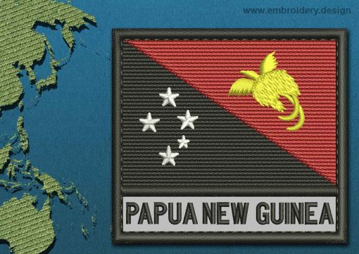 This Flag of Papua New Guinea Text with a Colour Coded border design was digitized and embroidered by www.embroidery.design.