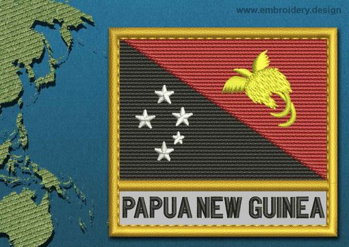 This Flag of Papua New Guinea Text with a Gold border design was digitized and embroidered by www.embroidery.design.