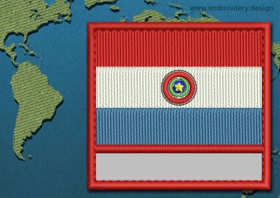 This Flag of Paraguay Customizable Text  with a Colour Coded border design was digitized and embroidered by www.embroidery.design.