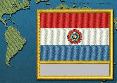 This Flag of Paraguay Customizable Text  with a Gold border design was digitized and embroidered by www.embroidery.design.