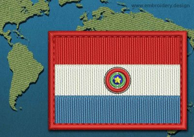 This Flag of Paraguay Rectangle with a Colour Coded border design was digitized and embroidered by www.embroidery.design.