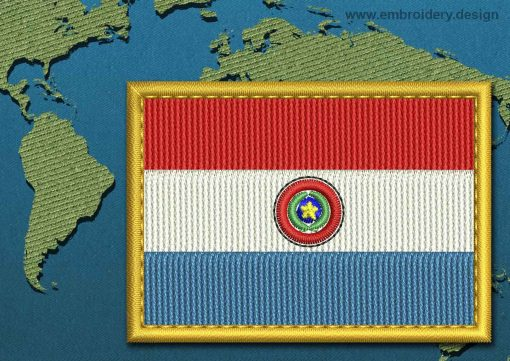 This Flag of Paraguay Rectangle with a Gold border design was digitized and embroidered by www.embroidery.design.