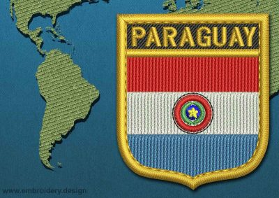This Flag of Paraguay Shield with a Gold border design was digitized and embroidered by www.embroidery.design.