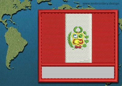 This Flag of Peru Customizable Text  with a Colour Coded border design was digitized and embroidered by www.embroidery.design.