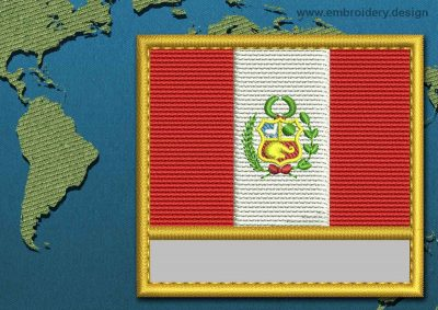 This Flag of Peru Customizable Text  with a Gold border design was digitized and embroidered by www.embroidery.design.