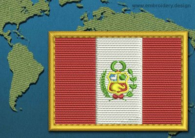 This Flag of Peru Rectangle with a Gold border design was digitized and embroidered by www.embroidery.design.