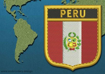 This Flag of Peru Shield with a Gold border design was digitized and embroidered by www.embroidery.design.