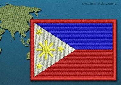 This Flag of Philippines Rectangle with a Colour Coded border design was digitized and embroidered by www.embroidery.design.