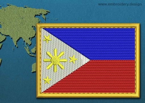This Flag of Philippines Rectangle with a Gold border design was digitized and embroidered by www.embroidery.design.