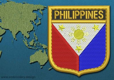 This Flag of Philippines Shield with a Gold border design was digitized and embroidered by www.embroidery.design.