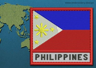 This Flag of Philippines Text with a Colour Coded border design was digitized and embroidered by www.embroidery.design.