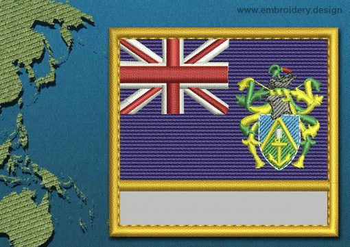 This Flag of Pitcairn Islands Customizable Text  with a Gold border design was digitized and embroidered by www.embroidery.design.