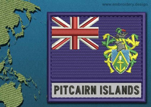 This Flag of Pitcairn Islands Text with a Colour Coded border design was digitized and embroidered by www.embroidery.design.