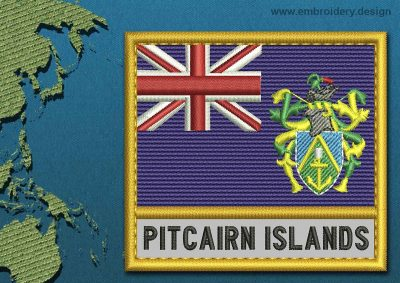 This Flag of Pitcairn Islands Text with a Gold border design was digitized and embroidered by www.embroidery.design.