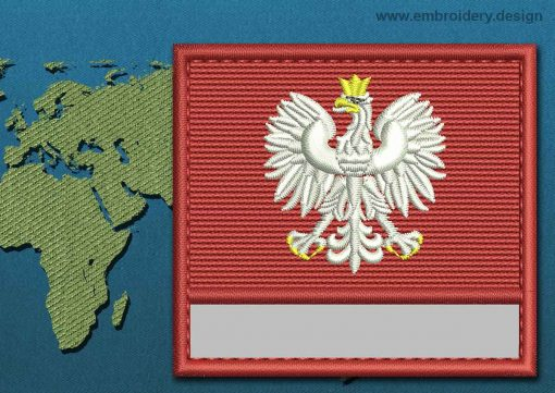 This Flag of Poland (With Eagle) Customizable Text  with a Colour Coded border design was digitized and embroidered by www.embroidery.design.