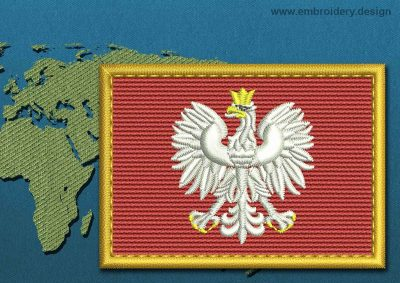 This Flag of Poland (With Eagle) Rectangle with a Gold border design was digitized and embroidered by www.embroidery.design.