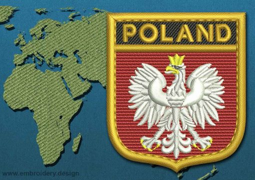 This Flag of Poland (With Eagle) Shield with a Gold border design was digitized and embroidered by www.embroidery.design.