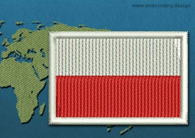 This Flag of Poland Mini with a Colour Coded border design was digitized and embroidered by www.embroidery.design.
