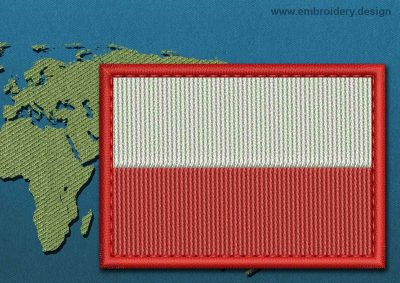 This Flag of Poland (No Eagle) Rectangle with a Colour Coded border design was digitized and embroidered by www.embroidery.design.