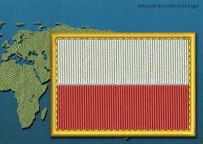 This Flag of Poland (No Eagle) Rectangle with a Gold border design was digitized and embroidered by www.embroidery.design.