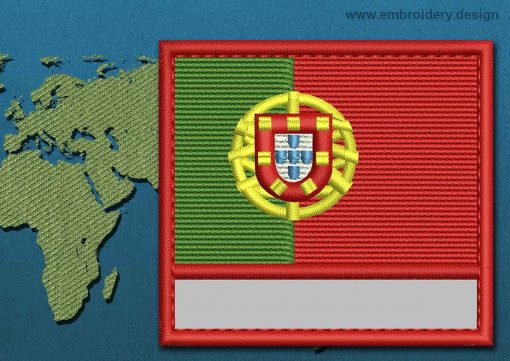 This Flag of Portugal Customizable Text  with a Colour Coded border design was digitized and embroidered by www.embroidery.design.