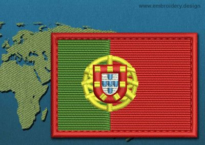 This Flag of Portugal Rectangle with a Colour Coded border design was digitized and embroidered by www.embroidery.design.