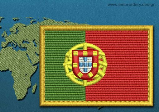 This Flag of Portugal Rectangle with a Gold border design was digitized and embroidered by www.embroidery.design.
