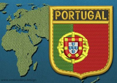 This Flag of Portugal Shield with a Gold border design was digitized and embroidered by www.embroidery.design.