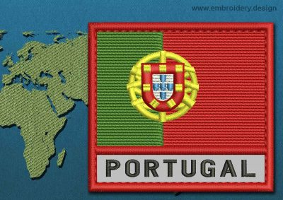 This Flag of Portugal Text with a Colour Coded border design was digitized and embroidered by www.embroidery.design.