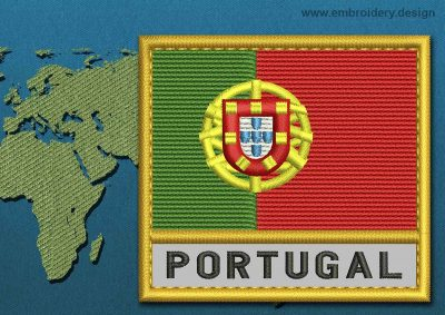 This Flag of Portugal Text with a Gold border design was digitized and embroidered by www.embroidery.design.