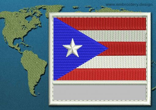 This Flag of Puerto Rico Customizable Text  with a Colour Coded border design was digitized and embroidered by www.embroidery.design.