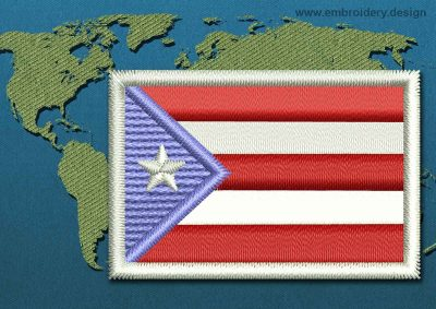 This Flag of Puerto Rico Mini with a Colour Coded border design was digitized and embroidered by www.embroidery.design.