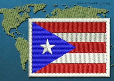 This Flag of Puerto Rico Rectangle with a Colour Coded border design was digitized and embroidered by www.embroidery.design.