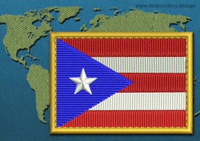 This Flag of Puerto Rico Rectangle with a Gold border design was digitized and embroidered by www.embroidery.design.
