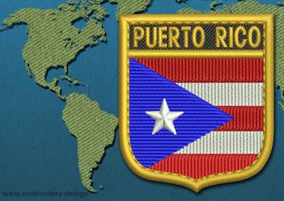 This Flag of Puerto Rico Shield with a Gold border design was digitized and embroidered by www.embroidery.design.