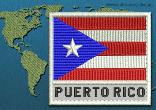This Flag of Puerto Rico Text with a Colour Coded border design was digitized and embroidered by www.embroidery.design.